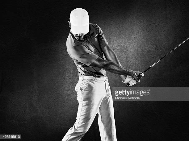 b&w golfer - golf swing stock pictures, royalty-free photos & images