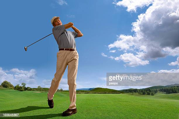 Golfer Playing on Course in Bright Daylight