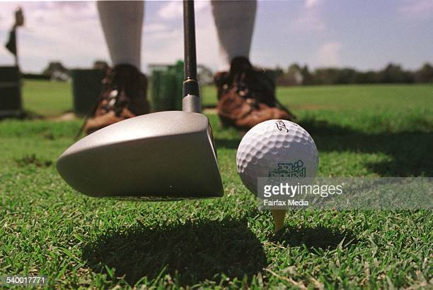 A golfer prepares to tee off at a Brisbane golf course 14 September 1998 AFR Picture by ROBERT ROUGH