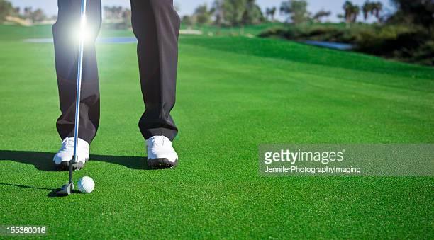 jogador de golfe tacada - putting imagens e fotografias de stock