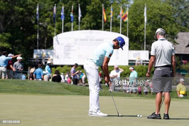 PGA golfer Rafa Cabrera Bello practices his putting during the Memorial Tournament Second Round on June 02 2017 at Muirfield Village Golf Club in...