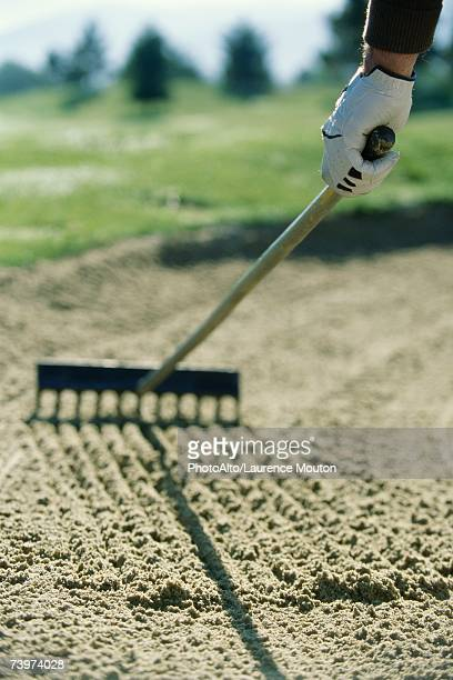 golfer raking sand in sand trap - sand trap stock pictures, royalty-free photos & images