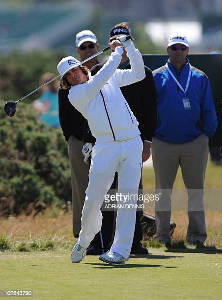 US golfer Rickie Fowler plays a tee shot during a practice round at St Andrews in Scotland on July 13 ahead of The 2010 Open Golf Championship which...
