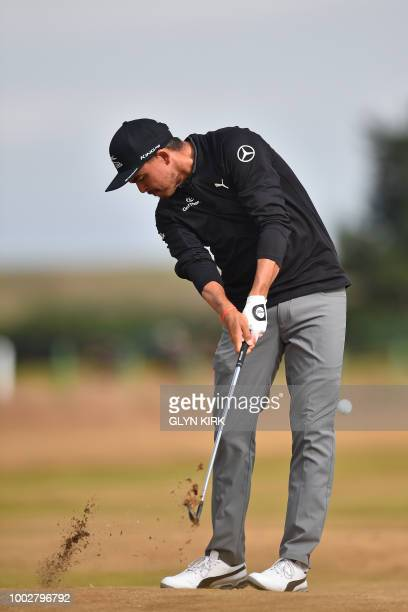 US golfer Rickie Fowler plays from the 7th fairway during his second round on day 2 of The 147th Open golf Championship at Carnoustie Scotland on...