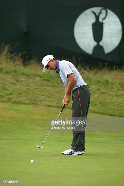 US golfer Rickie Fowler putts on the 15th green during his third round 68 on day three of the 2014 British Open Golf Championship at Royal Liverpool...