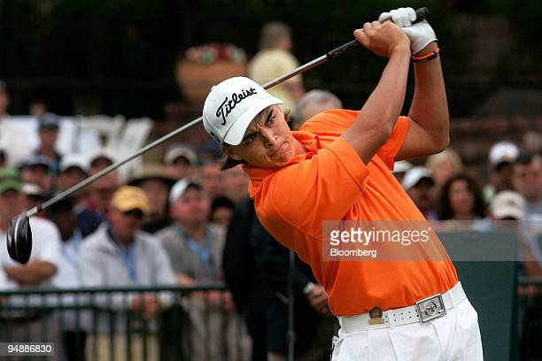 Golfer Rickie Fowler tees off from the 1st hole on day one of the 108th US Open at Torrey Pines Golf Course in La Jolla California US on Thursday...