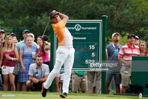 PGA golfer Rickie Fowler tees off on the 15th hole during the Memorial Tournament Final Round at Muirfield Village Golf Club in Dublin Ohio