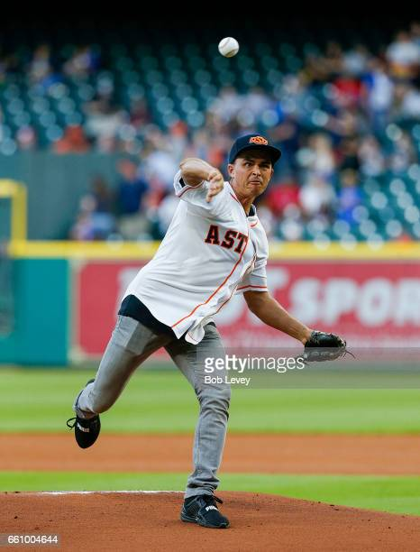 PGA golfer Rickie Fowler throws out first pitch during an exhibition game at Minute Maid Park on March 30 2017 in Houston Texas