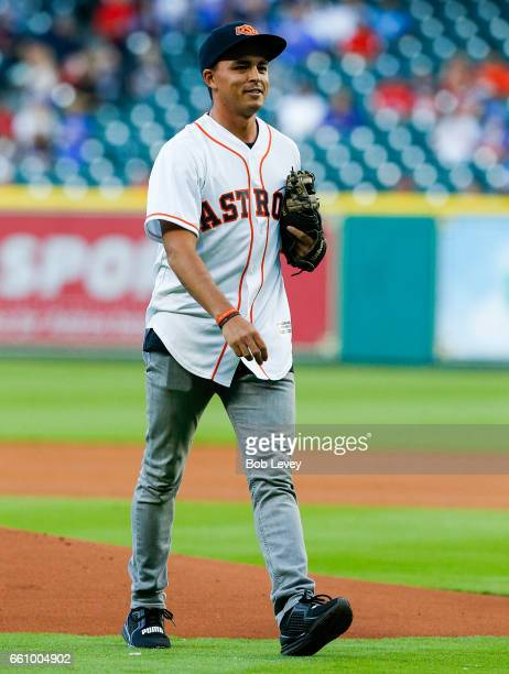 PGA golfer Rickie Fowler throws out first pitch during an exhibition game between the Chicago Cubs and Houston Astros at Minute Maid Park on March 30...