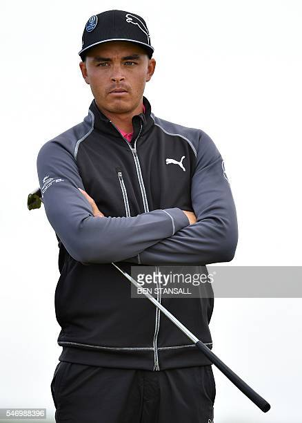 US golfer Rickie Fowler waits on the 13th Green during practice on July 13 ahead of the 2016 British Open Golf Championship at Royal Troon in...