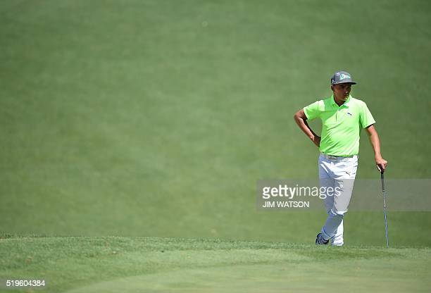 US golfer Rickie Fowler waits to play a shot during Round 1 of the 80th Masters Golf Tournament at the Augusta National Golf Club on April 7 in...