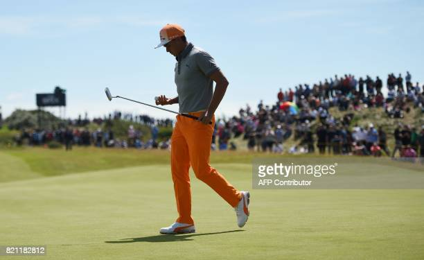 US golfer Rickie Fowler walks from the 4th green during his final round on day four of the 2017 Open Golf Championship at Royal Birkdale golf course...