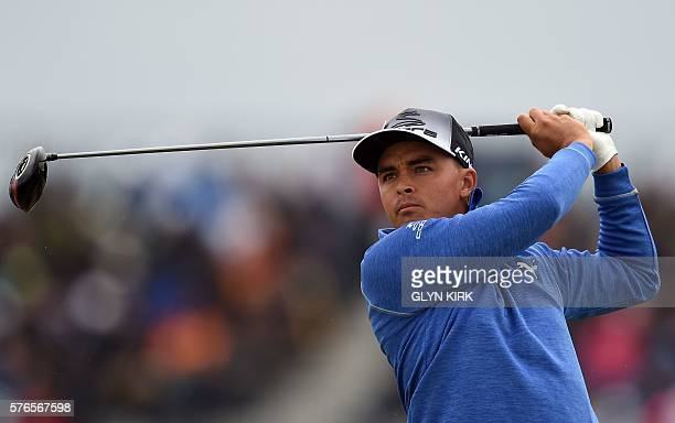 US golfer Rickie Fowler watches his drive from the 6th tee during his third round on day three of the 2016 British Open Golf Championship at Royal...