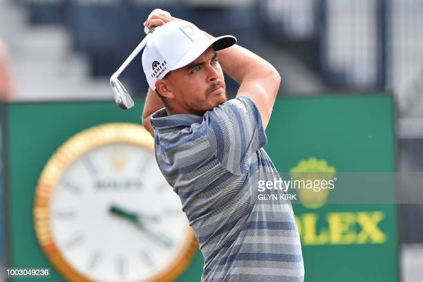 US golfer Rickie Fowler watches his iron shot from 3rd tee during his third round on day 3 of The 147th Open golf Championship at Carnoustie Scotland...