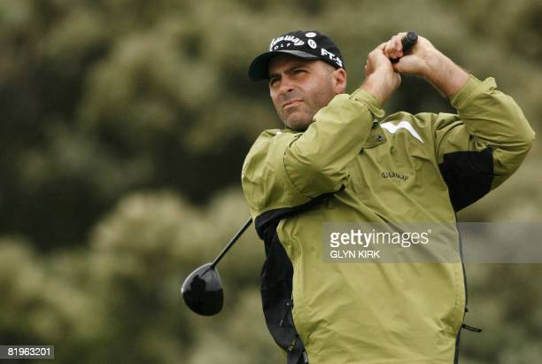 US golfer Rocco Mediate drives from the 2nd tee on the first day of The Open golf tournament at Royal Birkdale in Southport in northwest England on...