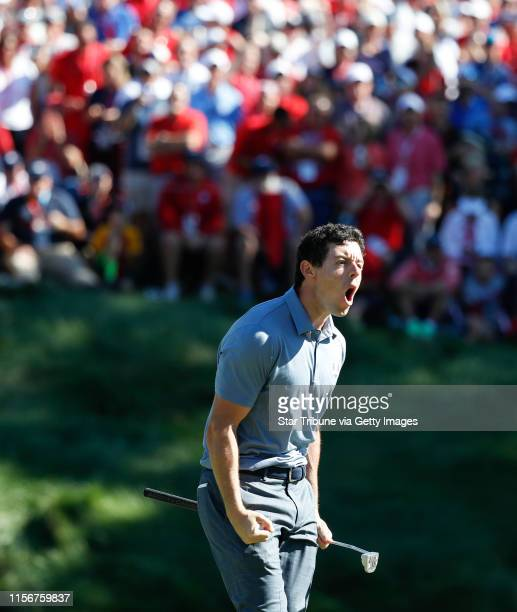 USA golfer Rory McIlroy roars after taunting the the gallery to make some noise after sinking a long birdie putt on the 8th hole during match play...