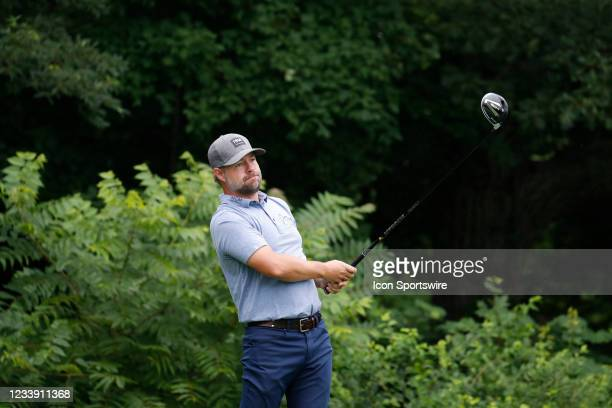 Golfer Ryan Moore hits his tee shot on the 2nd hole during the John Deere Classic on July 10, 2021 at TPC Deere Run in Silvis, Illinois.