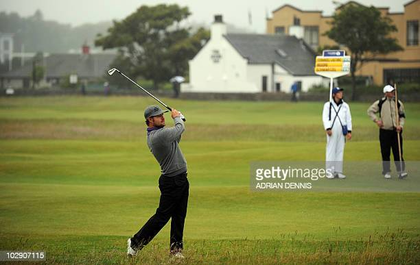 Golfer Ryan Moore plays a shot from the 2nd fairway during his opening Round on the first day of the British Open Golf Championship at St Andrews in...