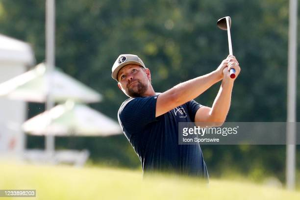 Golfer Ryan Moore plays his second shot on the 9th hole during the John Deere Classic on July 9, 2021 at TPC Deere Run in Silvis, Illinois.