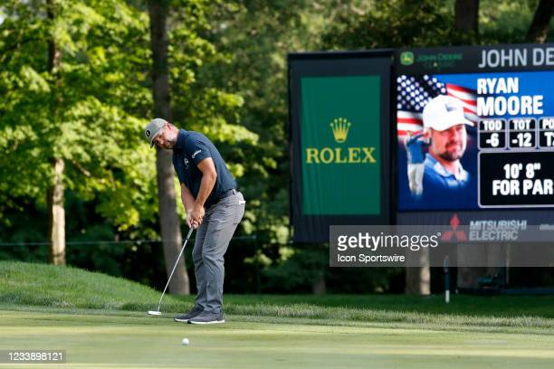Golfer Ryan Moore putts on the 9th hole during the John Deere Classic on July 9, 2021 at TPC Deere Run in Silvis, Illinois.