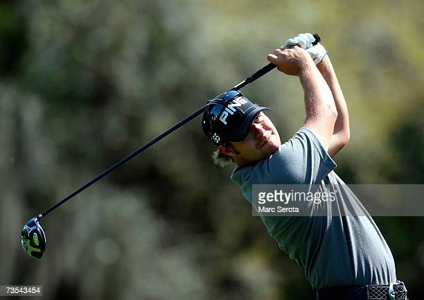 Golfer Ryan Moore tees off on the ninth hole during the third round of the PODS Championship on March 10, 2007 at Westin Innisbrook Resort in Palm...