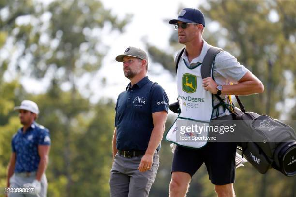 Golfer Ryan Moore walks the 9th hole during the John Deere Classic on July 9, 2021 at TPC Deere Run in Silvis, Illinois.