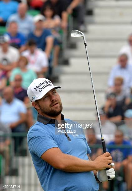 Golfer Ryan Moore watches his shot from the 4th tee during his fourth round, on the final day of the 2014 British Open Golf Championship at Royal...
