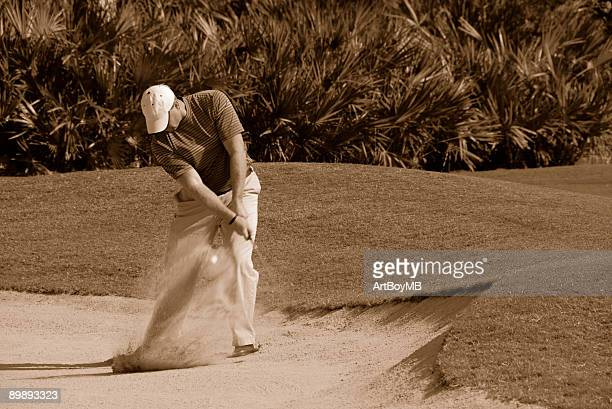 golfer sand trap sepia - chip shot stock pictures, royalty-free photos & images