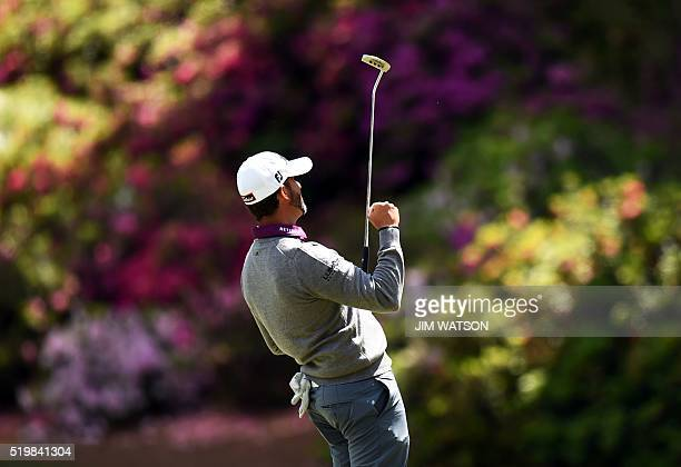 Golfer Scott Piercy reacts after putting on the 14th hole during Round 2 of the 80th Masters Golf Tournament at the Augusta National Golf Club on...