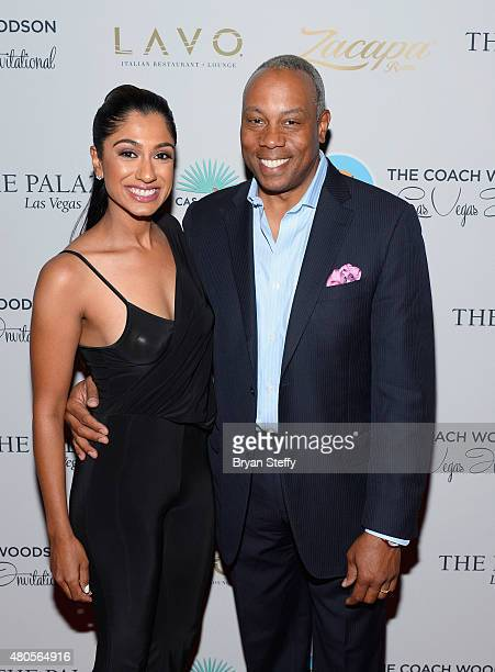 Golfer Seema Sadekar and ESPN personality Jay Harris arrive at the second annual Coach Woodson Las Vegas Invitational pairings party at the Lavo...