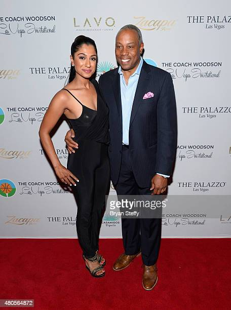 Golfer Seema Sadekar and ESPN personality Jay Harris arrives at the second annual Coach Woodson Las Vegas Invitational pairings party at the Lavo...