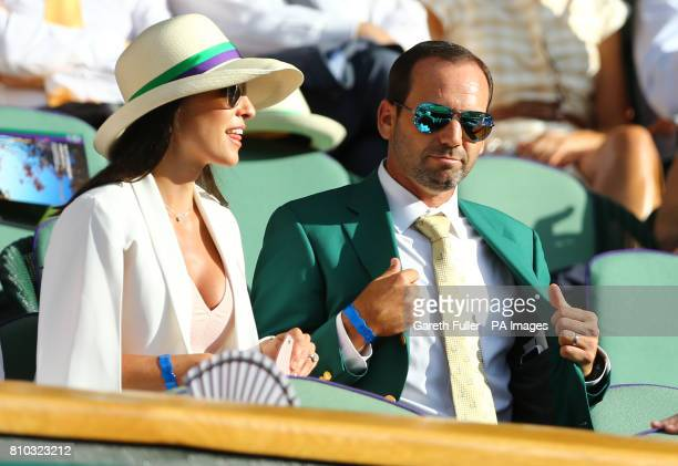 Golfer Sergio Garcia and Angela Akins in the royal box on day five of the Wimbledon Championships at the All England Lawn Tennis and Croquet Club,...