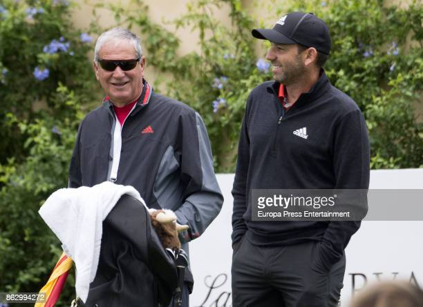 Golfer Sergio Garcia and his father Victor Garcia are seen playing golf at Valderrama Royal Club on October 18 2017 in Sotogrande Spain