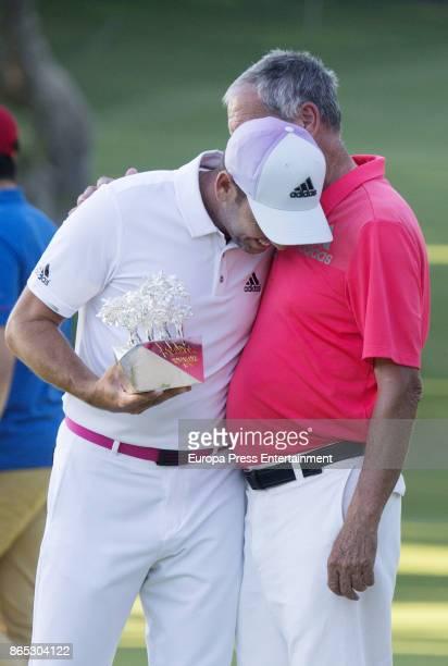 Golfer Sergio Garcia and his father Victor Garcia attend Andalucia Valderrama Masters at Valderrama Royal Club on October 22 2017 in Sotogrande Spain