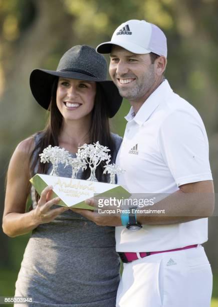 Golfer Sergio Garcia and his wife Angela Akins attend Andalucia Valderrama Masters at Valderrama Royal Club on October 22 2017 in Sotogrande Spain