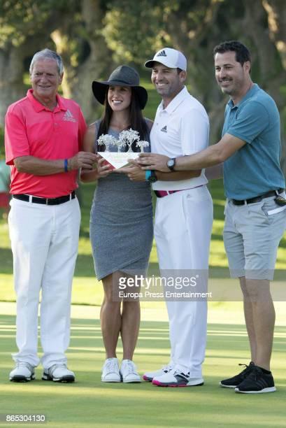 Golfer Sergio Garcia his wife Angela Akins his father Victor Garcia and brother Victor Garcia jr attend Andalucia Valderrama Masters at Valderrama...