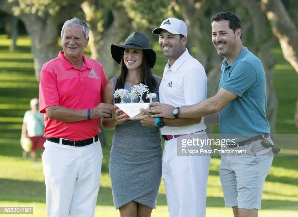Golfer Sergio Garcia , his wife Angela Akins, his father Victor Garcia and brother Victor Garcia jr attend Andalucia Valderrama Masters at Valderrama...
