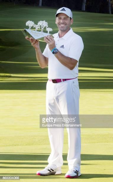 Golfer Sergio Garcia wins Andalucia Valderrama Masters at Valderrama Royal Club on October 22 2017 in Sotogrande Spain