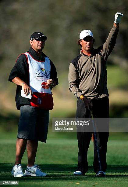 Golfer Stephen Ames from Canada chats with his caddie on the 16th hole at the Arnold Palmer Invitational at Bay Hill on March 17 2007 in Orlando...