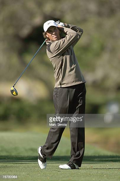 Golfer Stephen Ames of Canada tees off on the 16th hole at the Arnold Palmer Invitational at Bay Hill on March 17 2007 in Orlando Florida