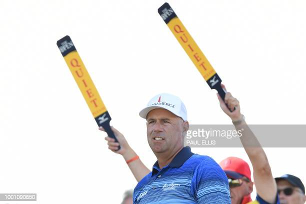 US golfer Stewart Cink watches his shot from the 10th tee during a practice round at The 147th Open golf Championship at Carnoustie Scotland on July...