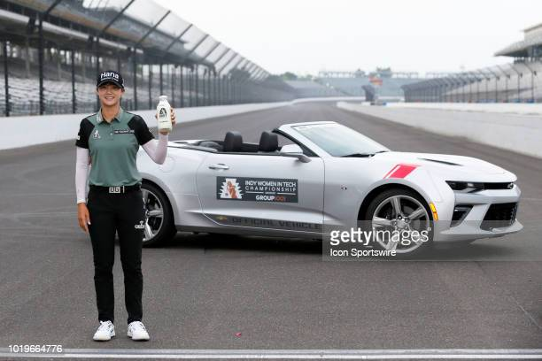 LPGA golfer Sung Hyun Park poses with the winners milk after winning the Indy Women In Tech Tournament during the final round of the Indy Women In...