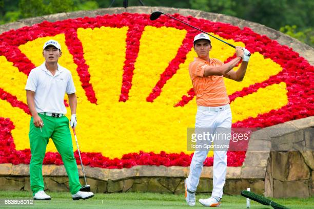 PGA golfer Sung Kang and Rickie Fowler looks on after the shot from the 18th tee during Shell Houston Open on April 02 2017 at Golf Club of Houston...