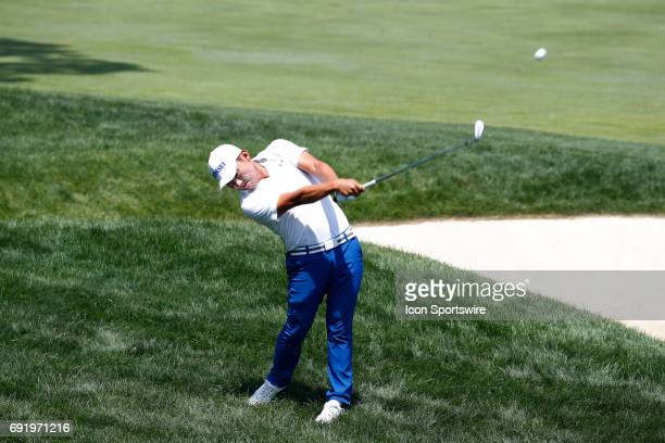 PGA golfer Sung Kang hits out of the rough on the 18th hole during the Memorial Tournament Third Round on June 03 2017 at Muirfield Village Golf Club...