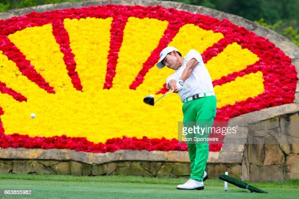 PGA golfer Sung Kang plays his shot from the 18th tee during Shell Houston Open on April 02 2017 at Golf Club of Houston in Humble TX