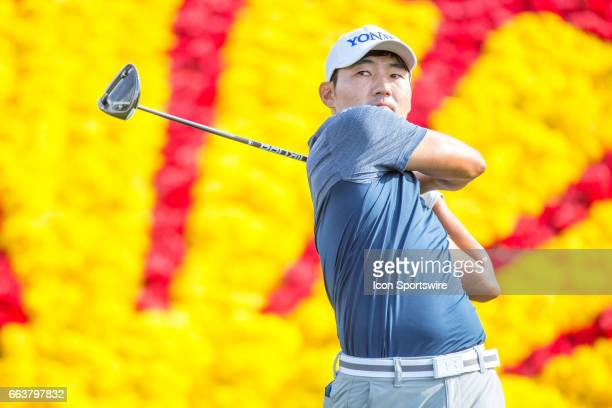 PGA golfer Sung Kang plays his shot from the 18th tee during the Shell Houston Open on April 01 at the Golf Club of Houston in Humble TX
