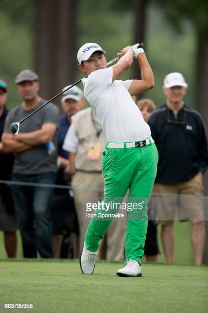 PGA golfer Sung Kang plays his shot from the fourth tee during the Shell Houston Open on April 02 2017 at Golf Club of Houston in Humble TX