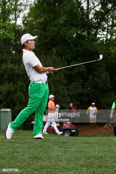 PGA golfer Sung Kang plays his shot from the second rough during the Shell Houston Open on April 02 2017 at Golf Club of Houston in Humble TX