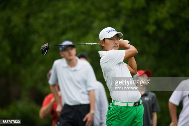 PGA golfer Sung Kang plays his shot from the second tee during the Shell Houston Open on April 02 2017 at Golf Club of Houston in Humble TX