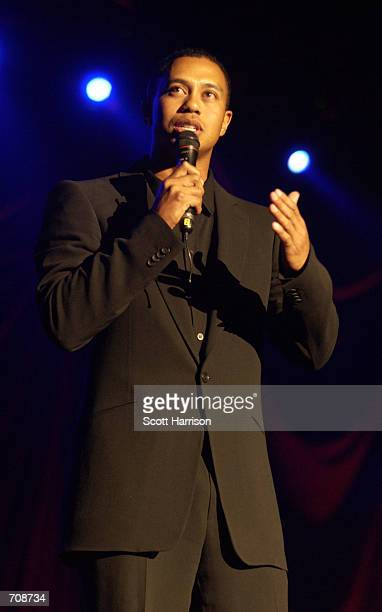 Golfer Tiger Woods addresses the crowd at the fifth annual Tiger Woods Foundation Tiger Jam fundraiser at the Mandalay Bay Resort April 20 2002 in...
